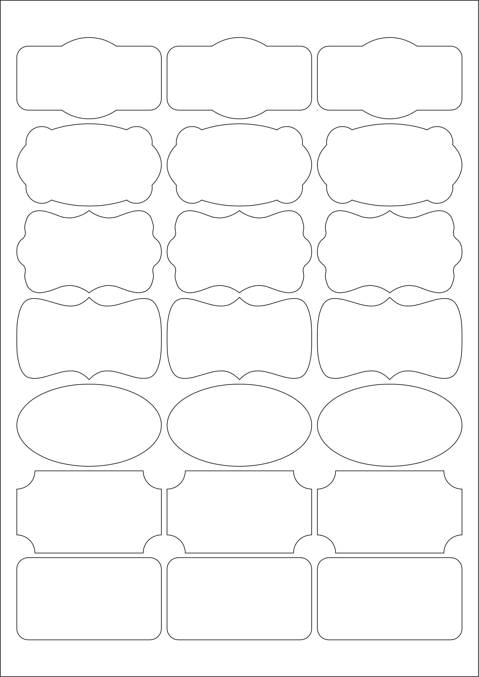 Mr171 7 types of fancy shape 63 5 x a4 sheet for Labels by the sheet templates